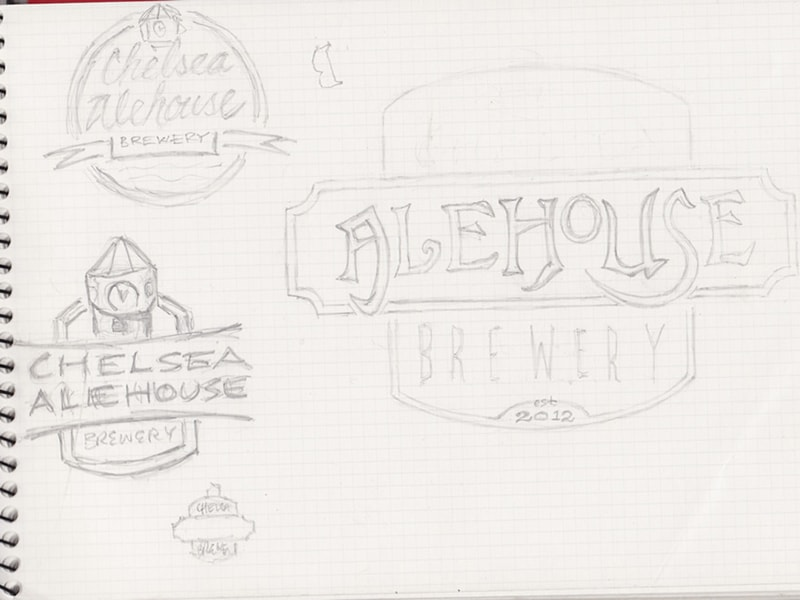 Chelsea Alehouse Logo Sketching
