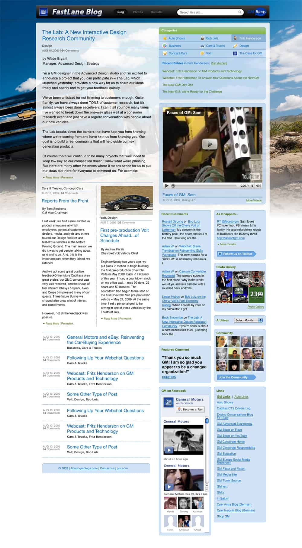 GM Fastlane Blog Design