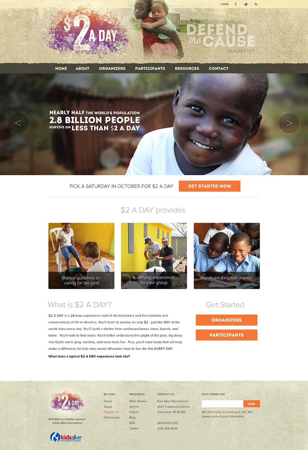 $2 A Day Website Design for Kids Alive